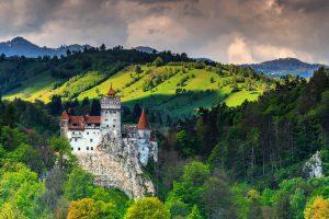 Stunning Bran castle and cloudy summer landscape,Transylvania,Romania travel